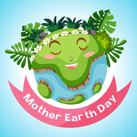 Poster design for mother earth day with smiling earth in background illustration