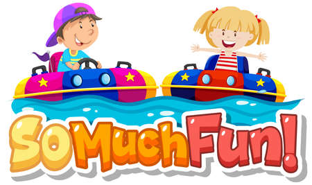 Font design for phrase so much fun with kids playing illustration