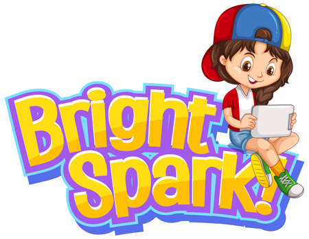 Font design for word bright spark with cute girl illustration 向量圖像