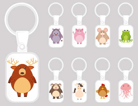 Keychain template design with many kinds of animals illustration 向量圖像