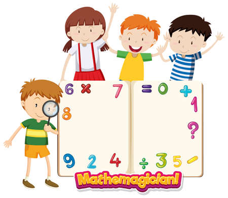 Frame template with happy children and numbers illustration