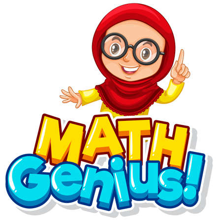 Font design for word math genius with cute muslim girl illustration