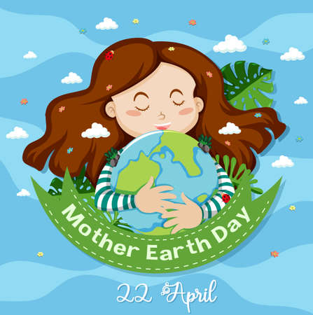 Poster design for mother earth day with happy girl in background illustration 向量圖像