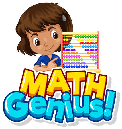 Font design for math genius with girl and counting beads illustration