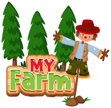 Font design for word my farm with trees and scarecrow illustration