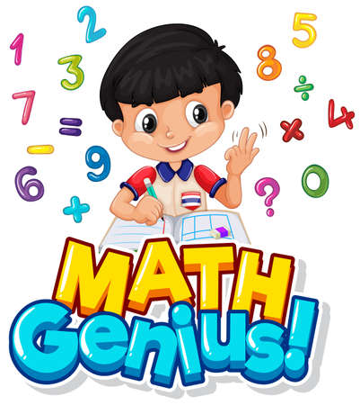 Font design for math genius with boy and numbers illustration