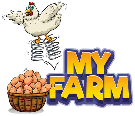 Font design for word my farm with chicken and eggs illustration