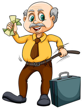 Old man with money illustration