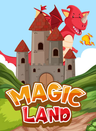 Font design for word magic land with dragon and castle illustration