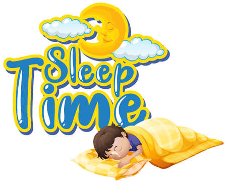 Font design for word sleep time with kid sleeping at night illustration 向量圖像