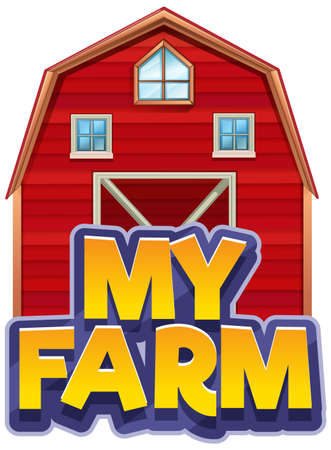 Font design for word my farm with big red barn illustration