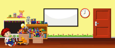 Background scene with whiteboard and toys illustration 向量圖像
