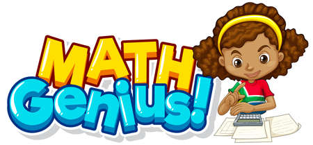 Font design for word math genius with cute girl illustration 向量圖像