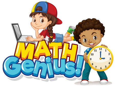 Font design for word math genius with two students illustration 向量圖像