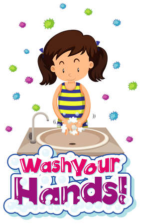 Coronavirus theme poster design with word wash your hands illustration