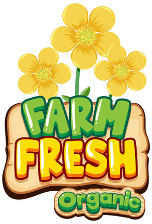 Font design for word fresh farm with yellow flowers illustration