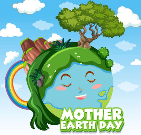 Poster design for mother earth day with happy earth in background illustration