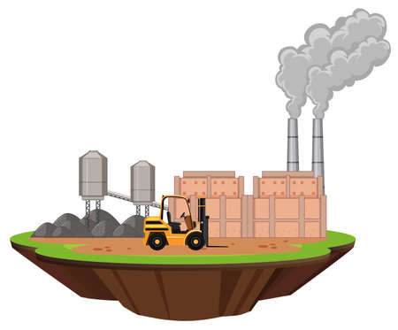 Scene with factory buildings and forklift illustration