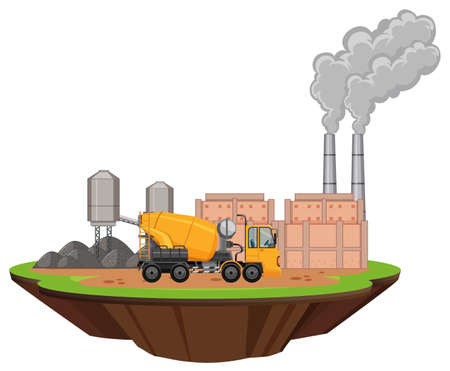 Scene with factory buildings and cement mixer illustration 向量圖像