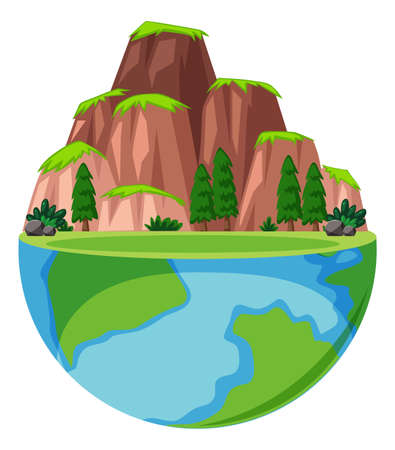 Big mountain and many trees on earth illustration
