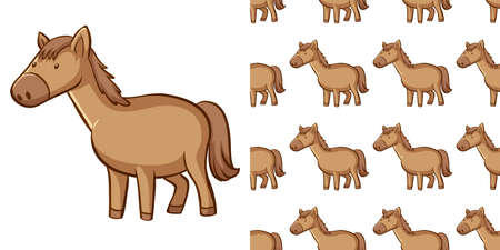 Seamless background design with brown horse illustration