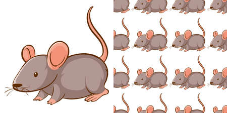 Seamless background design with gray rat illustration