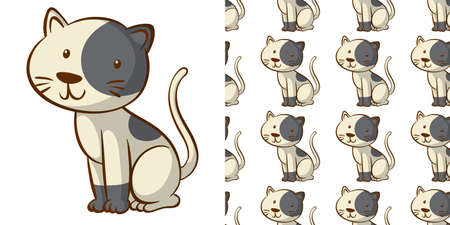 Seamless background design with cute kitten illustration
