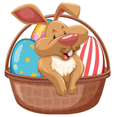 Easter bunny with decorated eggs in brown basket illustration