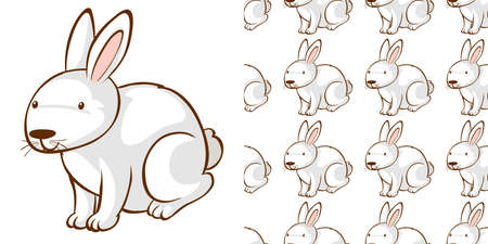 Seamless background design with white bunny illustration 向量圖像