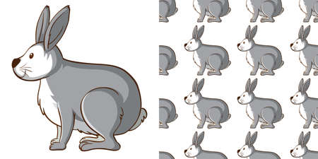 Seamless background design with gray rabbit illustration