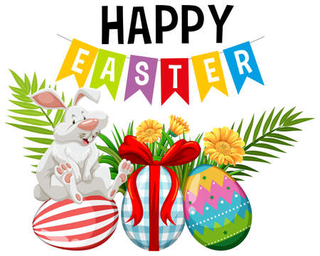 Poster design for easter with easter bunny and decorated eggs illustration