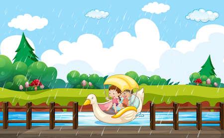 Scene background design with kids paddling in duck boat illustration Vetores