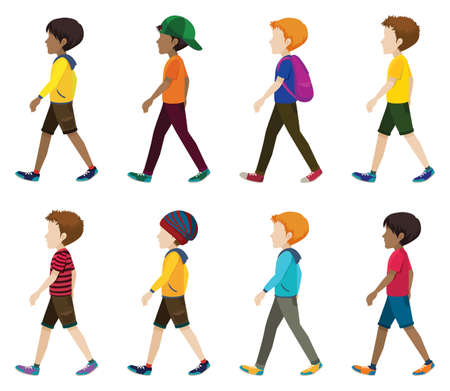 Faceless young men walking on a white background Векторная Иллюстрация