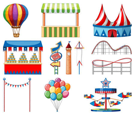 Set of circus items on white background illustration