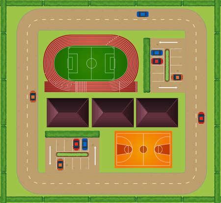 Aerial view of sporting facility Vektorgrafik