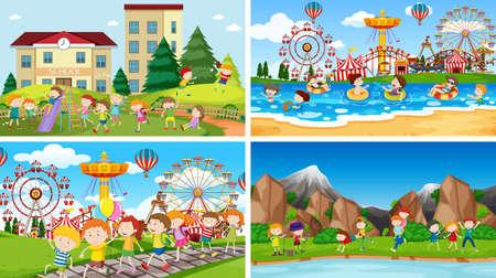 Set of scenes in nature setting Vektorové ilustrace