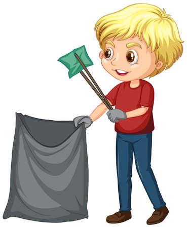 Boy picking up trash on white background illustration