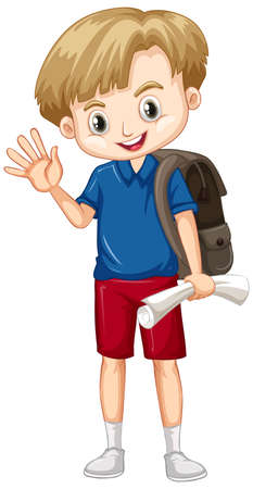Cute boy with brown backpack greeting on white background illustration