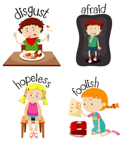 Set of children doing activities with adjectives illustration Иллюстрация