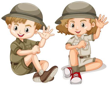 Boy and girl in safari outfit waving hello illustration Ilustração