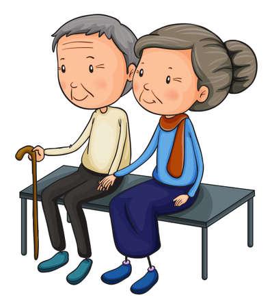 Illustration of an old couple dating on a white background Векторная Иллюстрация