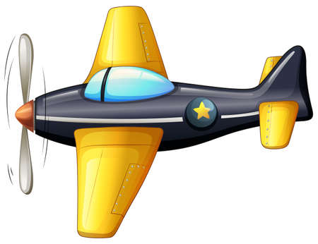 Illustration of a vintage aircraft on a white background