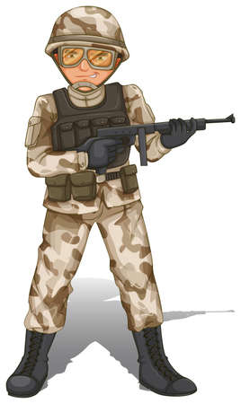 Illustration of a brave soldier on a white background