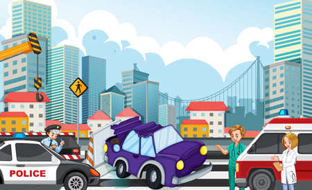 Accident scene with car crash on highway illustration