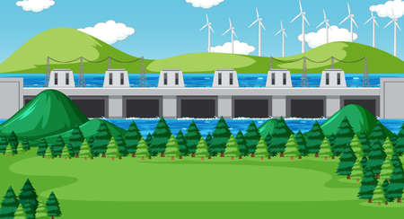 Scene with dam and wind turbines on the hills illustration