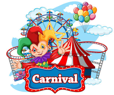 Carnival sign template with happy clown and many rides in background illustration Vector Illustration