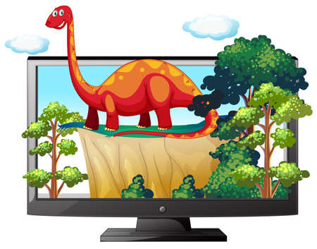Sauropod on the computer monitor illustration Ilustração