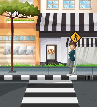 Man waiting at the crossing sign illustration