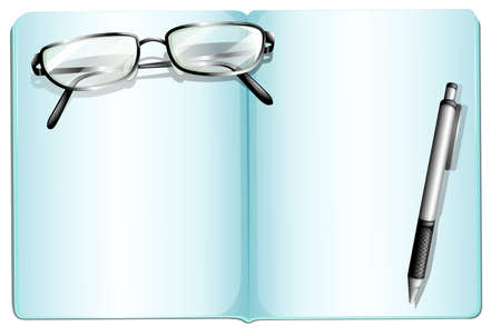 Illustration of an empty notebook with an eyeglass and a pen on a white background