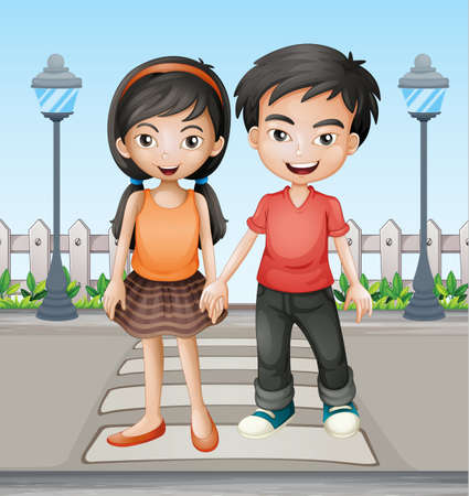Illustration of two teenager holding hands together